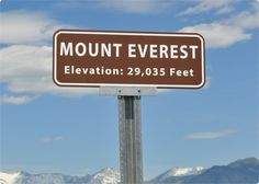 Mount Everest Sign with Elevation