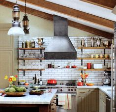 Dan Doyle's Industrial Design : timber shelves with custom steel brackets, steel venthood,gray cabinets,subway tile