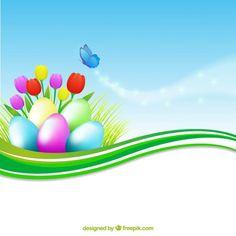 Banner colorido con huevos de pascua. Vector Gratis con atribución.