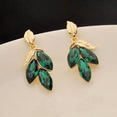 $2.57 Pair Of Gorgeous Chic Style Faux Emerald Women's Leaf Shape Drop Earrings