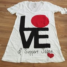 Nwt, support Japan tshirt Brand new with tags, never worn so no sign of damage, wear. Forever 21 x American Red Cross to support Japan. Forever 21 Tops Tees - Short Sleeve