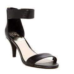"""Marleen Ankle Strap Mid Heel Sandal Brand new never worn. Sizing: True to size.   - Open toe - Single vamp strap - Ankle strap with side elastic - Back zip closure - Covered heel - Approx. 2.75"""" heel - Imported Materials: Leather upper, manmade sole Additional Info: True to size. Vince Camuto Shoes Heels"""