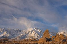 Sail Rock and Lone Pine Peak under stormy morning sky. Alabama Hills near Lone Pine. Eastern Sierra, California, USA. - Alabama-Hills-Easter...