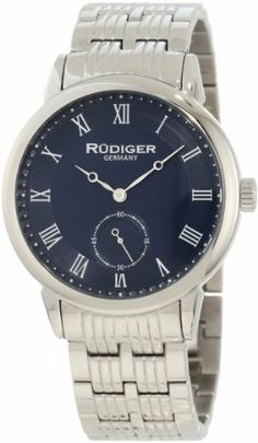 Rudiger Men's R3000-04-003 Leipzig Stainless Steel Blue Dial Roman Numeral Watch Rudiger. $97.72. Quartz movement: seiko vd78. Seconds sub-dial. Blue dial with silver roman numerals. Water-resistant to 50 M (165 feet). 5 link polished stainless steel bracelet. Save 72%!
