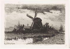 Landschap met molen, Jan Vrolijk, 1860 - 1894