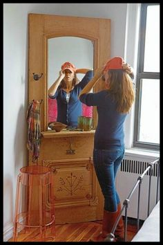 door transformed into a hall mirror with shelf and hooks.here ---> http://theownerbuildernetwork.co/2um7
