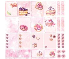 Printable planner stickers Sweet As Life: a weekly set for Valentines Day or whenever you crave a sweet dessert and cake! These sticker printables are made from my hand drawn watercolor patterns and illustrations of cake, desserts, sweets and chocolates. These stickers fit with the Erin Condren weekly spreads, but can be used with other planners and journals as well. I like to put them in my bullet journal and sketchbook, too, or put them in my recipe book or on the packaging for baked gifts…