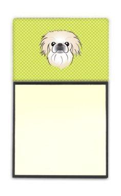 Checkerboard Lime Green Pekingese Refiillable Sticky Note Holder or Postit Note Dispenser BB1283SN