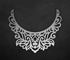 Ornamental leather Bib necklace template, vector laser Cut File / SVG, DXF Cosplay accessories design, Cricut maker bijouterie pattern
