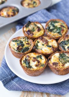 Spinach and Goat Cheese Mini Egg Muffins: Scrapped the crust. Added some paprika to the egg mixture.