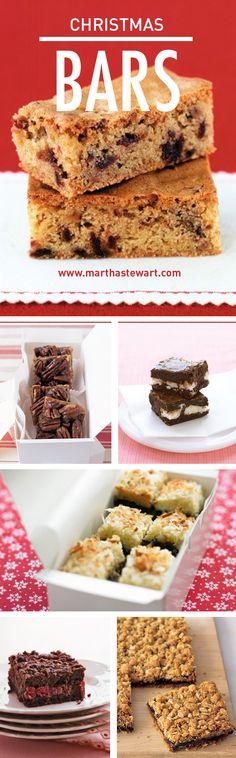 Christmas Bars | Martha Stewart Living - Choose from dozens of tempting bar cookie recipes, including coconut-chocolate, pecan, lemon, chocolate-mint, cheesecake bars, and many more.