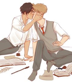 ''studying'' by finncat on deviantART. Sirius and Remus