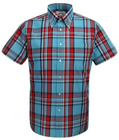 Brutus Trimfit light blue and red short sleeve check shirt available @ www.modfellas.com