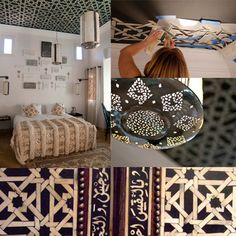 stencils on ceilings - this would be great in one of the bathrooms