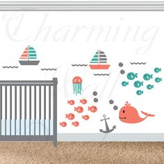 Nautical Wall Decals Vinyl Wall Art Anchor by CharmingWallDecals