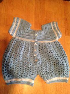 Crochet Baby Boy Romper   Crochet Baby by MaryDSerenityDesigns