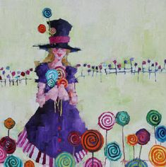 Angela Morgan,  Lollipop Brigade,  Oil on Canvas  30 X 30 in.