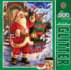 HOLIDAY GLITTER JIGSAW PUZZLE JOLLY SAINT NICK DONA GELSINGER 500 PCS #31438