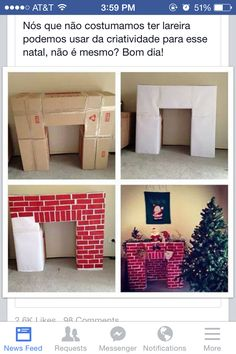 DIY fireplace for Santa.