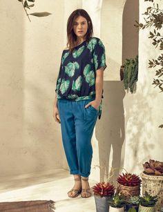 ImpriméBlouse et pantalon en coton, 24,99 € et 29,99 €, le tout Violeta by Mango du S au XXL