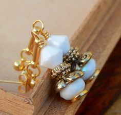 White vintage earrings white and gold earrings by SheJustSaidYes, $16.00