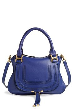 Chloé 'Marcie - Small' Leather Satchel A textured, curvy flap—branded by subtle embossing—secures the front pocket of a sophisticated satchel crafted from lightly pebbled calfskin and topped with wrapped handles and an optional strap. Chloe Bag, Marcie Chloe, Chloe Handbags, Purses And Handbags, Coach Handbags, Cute Purses, Urban Chic, Cute Bags, Coach Purses
