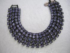 Vintage Estate Kenneth Jay Lane Signed KJL Faux Tanzanite Purple Rhinestone Crystal Japanned Bracelet,
