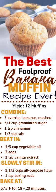 The Best Foolproof Banana Muffin Recipe Ever - Moist banana muffins loaded with banana bread flavor. This recipe is quick and cheap and so easy it's foolproof!