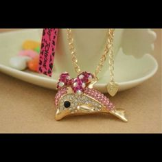 "Betsey Johnson Dolphin necklace Cute Betsey Johnson dolphin necklace. Chain is 28"" Bundle for 20% off Betsey Johnson Jewelry Necklaces"