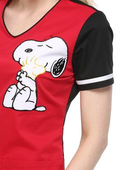 Cherokee Tooniforms Hug Me Snoopy Black print scrub top | Scrubs and Beyond