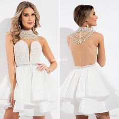 Rachel Allan White High Neck Short Homecoming Dresses Backless Beaded Collar…