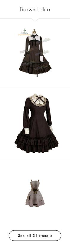 """""""Brown Lolita"""" by sw-13 ❤ liked on Polyvore featuring dresses, lolita, brown long sleeve dress, long sleeve day dresses, brown dresses, longsleeve dress, gothic dress, costumes, cosplay costumes and role play costumes"""