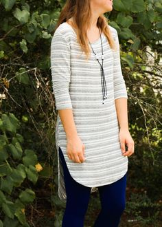 Our Cream/Black Woven Tunic is another great piece for Fall, Winter, and Spring. Lightly woven, but not so thin as to need a slip. The stripes are a nice subtle touch, the hem is longer in back, and t