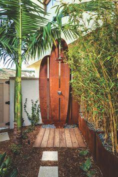 Woodson At Playa Vista outdoor shower, surfboard shower, pool shower, outdoor living, tropical