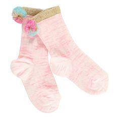 Simple Kids Calcetines Pompones Cutie Rosa