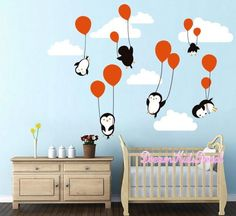 Penguins Penguin Cloud Balloon Wall Decal, Wall Decals Nursery, Baby Wall Decal, Kids Wall Decals, Peel and Sticke Decal for Children  The overall size is approx. 110cm wide by 81cm high, and you...