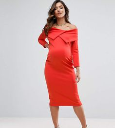 ASOS Maternity TALL Origami Pleated Bardot Dress in Scuba