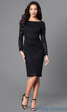 Image of knee-length black lace party dress with long sleeves. Party Dresses With Sleeves, Lace Party Dresses, Party Dresses For Women, Holiday Dresses, Royal Dresses, Plus Dresses, Junior Dresses, Little Black Dress Outfit, Black Dress Outfits
