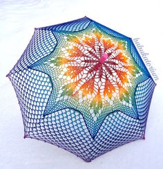 Crochet Umbrella - Rainbow Ombre Leaves Doily Motif With S… | Flickr