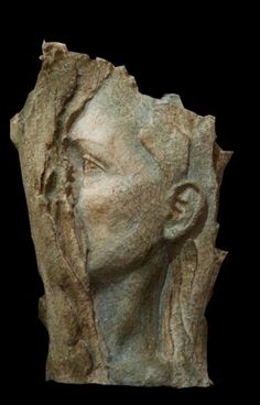 High relief or Haute Relief Carving Wall Panel casting in Bronze/Copper #sculpture by #sculptor Paola Grizi titled: 'Rivelazione (Emerging Girl`s Face Head Bust ceramic statue statuettes)' #art