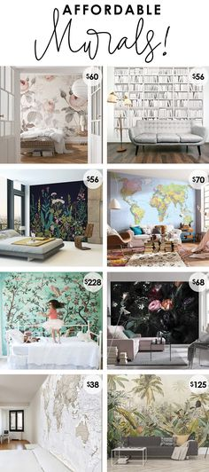 Affordable murals - cheap prices for large pieces of art, blank wall ideas, inexpensive wallpaper