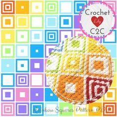 Rainbow Squares - C2C Crochet Pattern Blanket - INSTANT DOWNLOAD - Crochet Graph - Crochet Pattern - Corner to Corner - Crochet Squares