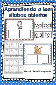 Practicing reading and writing Spanish syllables. Makes a great literacy center for students in kindergarten or first grade. Perfect for bilingual, dual language and Spanish immersion classes. Bilingual Kindergarten, Bilingual Classroom, Bilingual Education, Spanish Classroom, Teaching Spanish, Classroom Ideas, Dual Language Classroom, Teaching Activities, Listening Activities