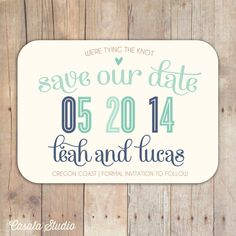Rustic Chic Navy Seamist Turquoise Postcard Save the Date by casalastudio