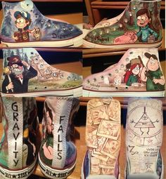 "I'm not into ""Gravity Falls"" (never even have thought about it), but this artist is INSANELY TALENTED!Gravity Falls Converse by on deviantART Dipper Y Mabel, Desenhos Gravity Falls, Gavity Falls, Converse, Reverse Falls, Bill Cipher, Billdip, Fandoms, Casual Cosplay"