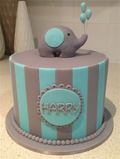 Amanda's Cakes and Invitations - Christening/Baby Shower Cakes boy christening blue grey cake elephant balloons