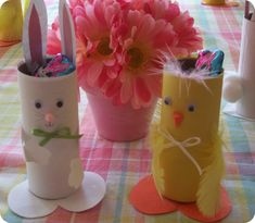 Cover toilet paper tubes with construction paper and then decorate to look like your favorite Easter friend. Fill with candy and enjoy. We used ours as table favors at our Easter dinner. Their were a huge success!