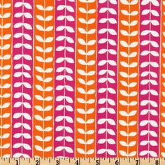 MINGLE LEAF - White Leaves on Hot Pink Fuschia and Orange Tangerine Stripe -  Robert Kaufman - One Yard