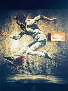 Whether for Point-of-Purchase promotion as above, or retail dress-up and visual merchandising, background art on Slatwall, Pedgoard and Gondola Backer can… Nike Street, Slat Wall, Street Dance, Girl Dancing, Magnets, Retail, Shoe, Patterns, Art