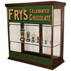 View this item and discover similar for sale at - Victorian counter top shop display cabinet, sweet shop This glazed shop display cabinet is made mahogany, it has advertising banners for Fry's painted Display, Countertops, Display Shelves, Shop Sign Design, Cabinet, Shop Window Design, Display Cabinet, Shop Display, Shop Window Displays